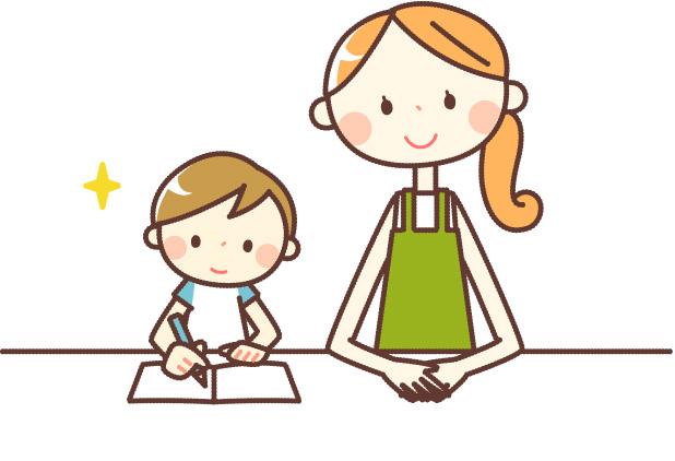 家庭学習をする母子のイラスト