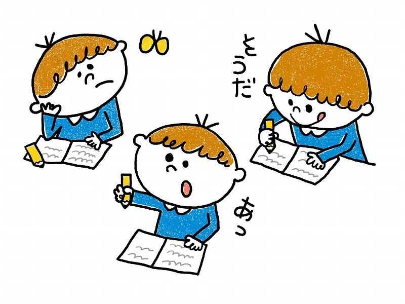 家庭学習をする男の子のイラスト