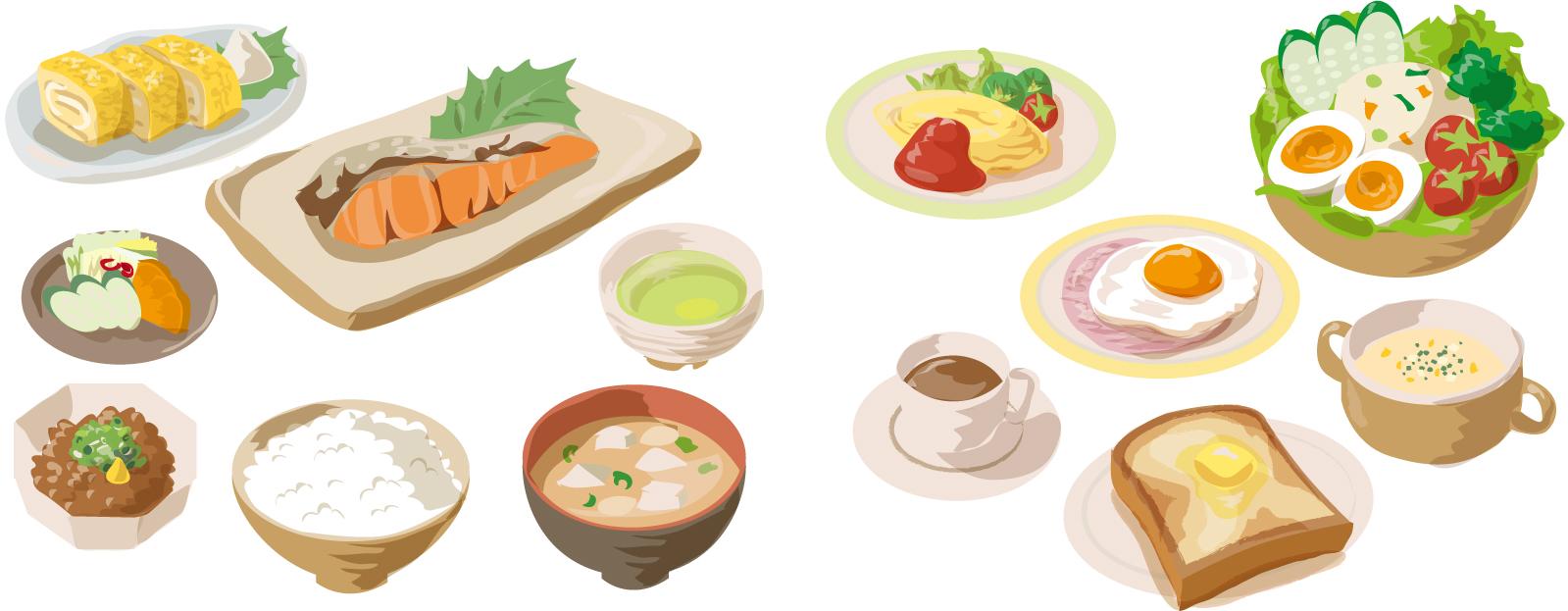 朝食メニューのイラスト