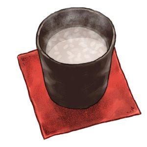 温かい甘酒のイラスト