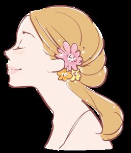 キレイな女性の横顔のイラスト